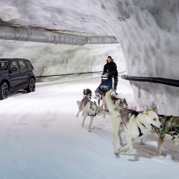 • Discovery Sport takes on dog sled team in unique race at Vesileppis Ski Tunnel in Finland