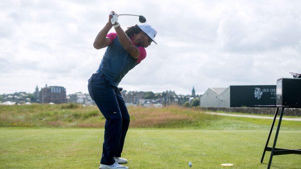 NFL Athlete Larry Fitzgerald golfing at St Andrews Links