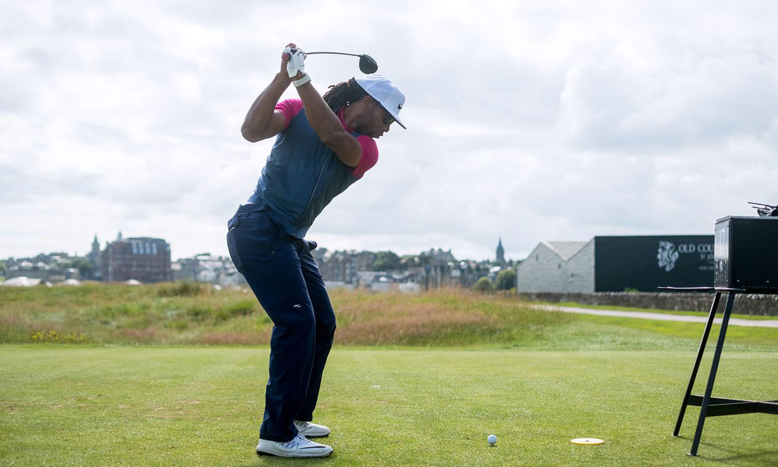 NFL Athlete Larry Fitzgerald golfing at St Andrews Links