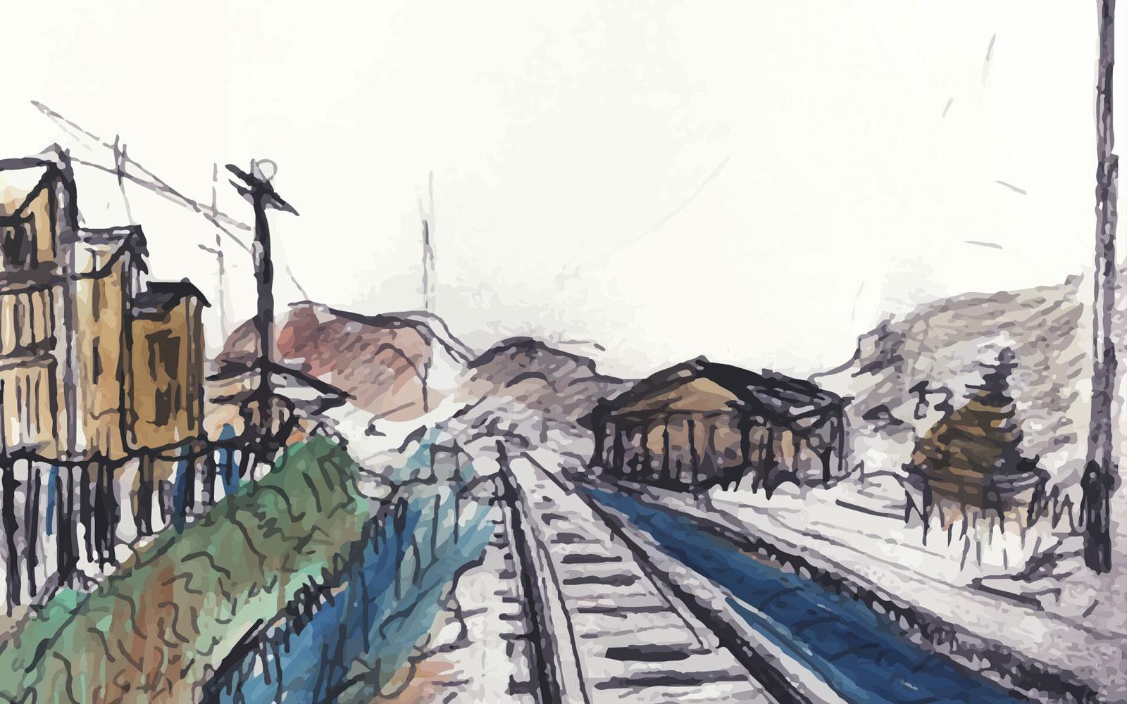 Train Tracks Painting