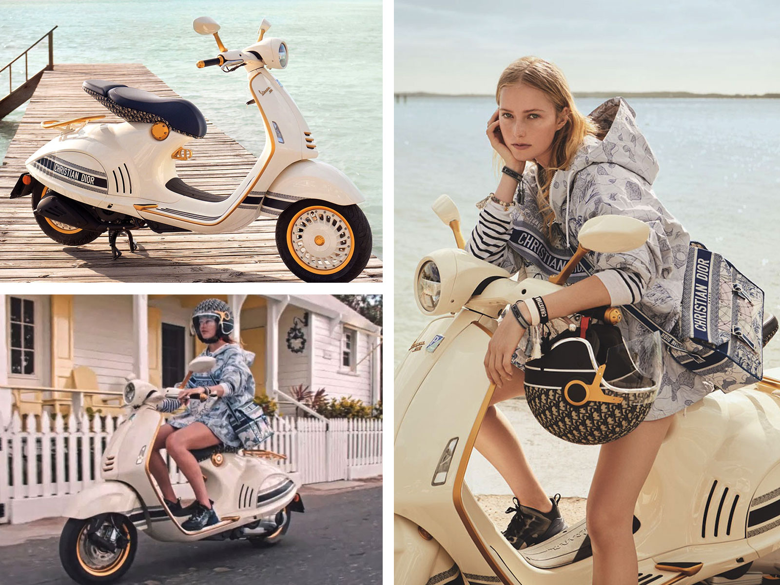 Model on Vespa Dior Scooter