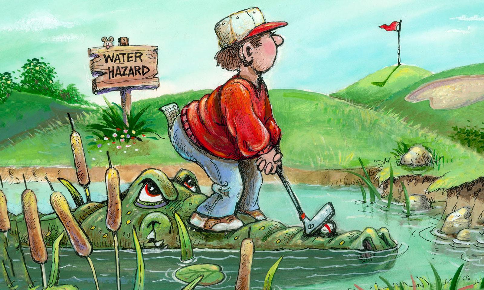 Artist Gary Patterson Captures the Humor of Golf Water Hazard