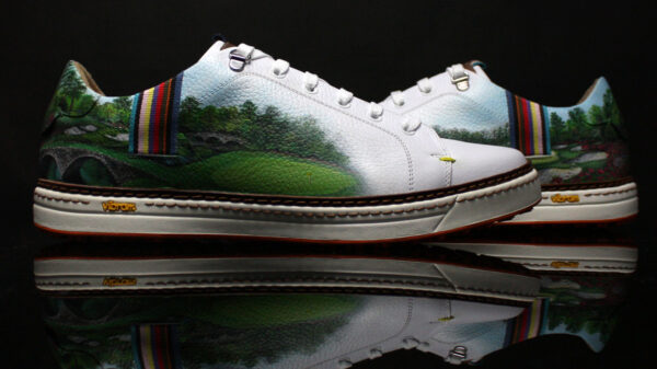 Hand-painted Masters golf shoe