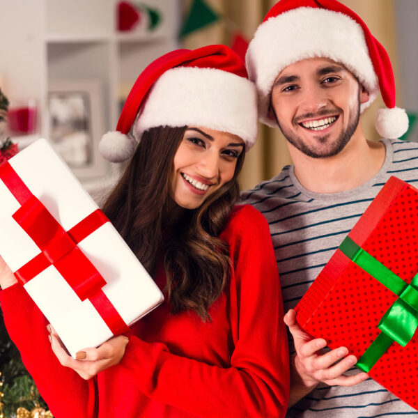 Holiday couple with gifts