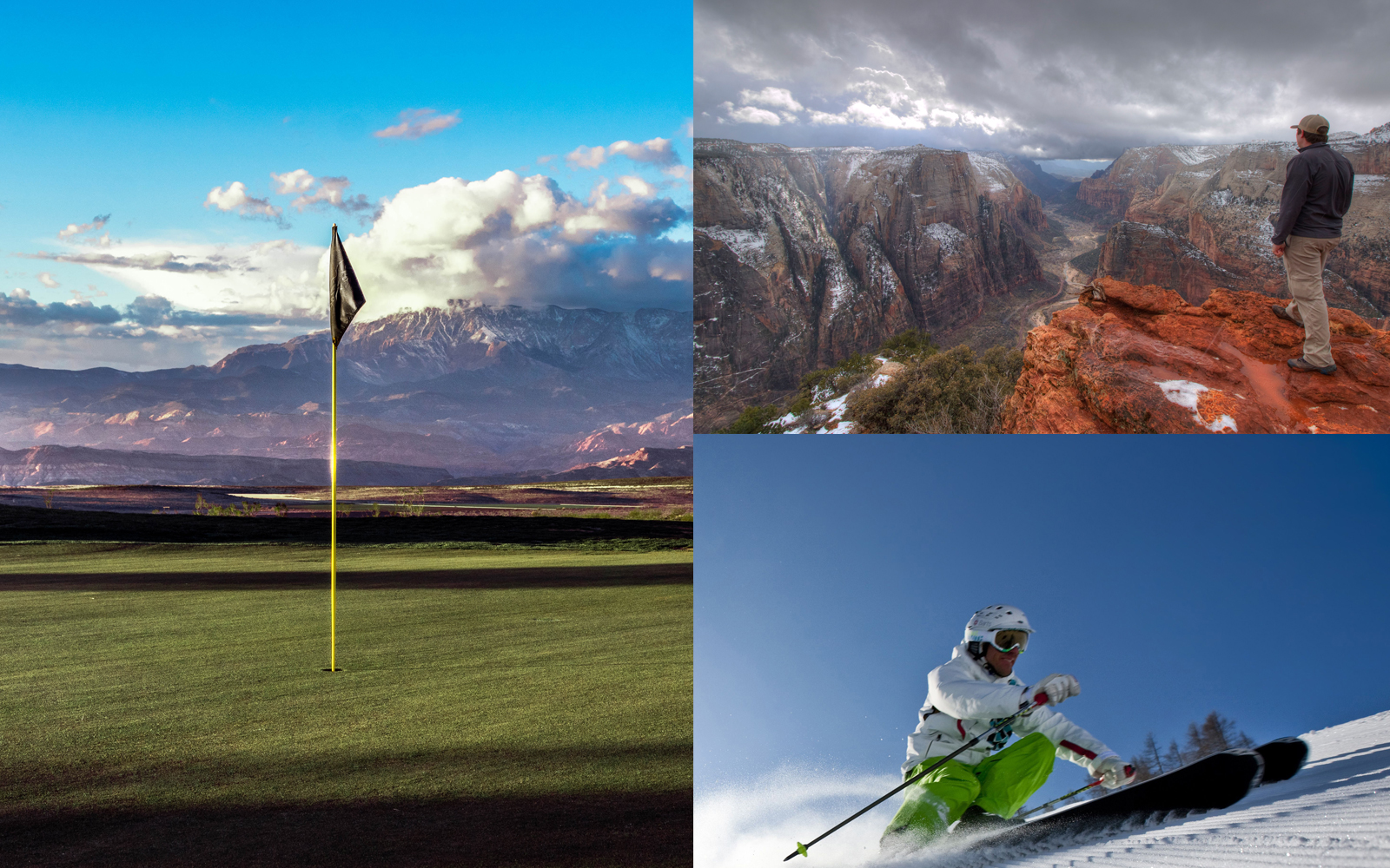 Winter golf, ski and mountain range in Utah
