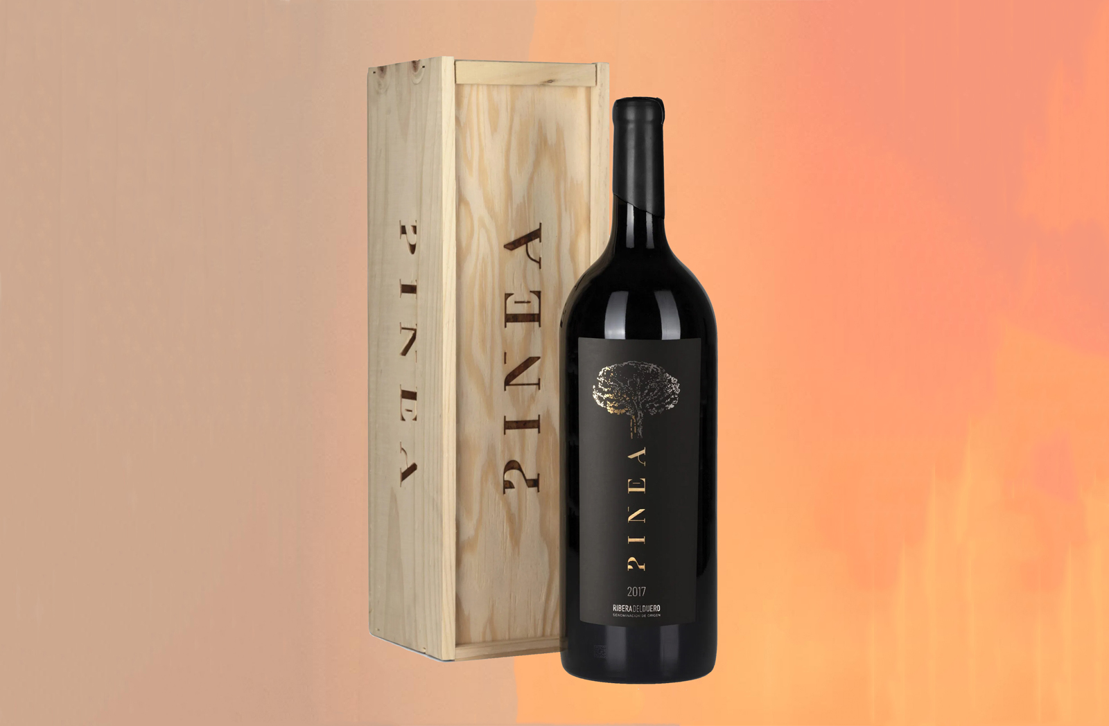 2017 Vintage Of Pinea Tempranillo wine bottle and crate